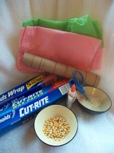 The materials for an April showers rainstick craft.