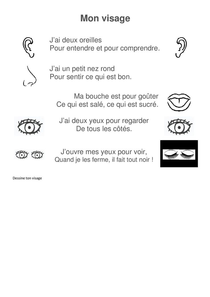 French - comptines les 5 sens - from: la maternelle de Camille. Great rhymes for the topic with my eyes I see a..., with my ears I hear a..., with my nose I smell a...