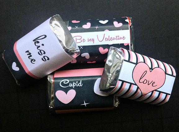 Mini Candy Bar Wrapper - Valentine's Hershey Mini, Pink and Black Valentine, Valentine Cupid, Be my Valentine by LittlePrintsOttawa on Etsy