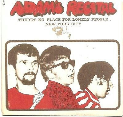 """ADAM'S RECITAL """"There's No Place for Lonely People"""" b/w """"New York City"""" 1967 Barclay (Belgium) FUZZ Proto Punk Mindlbreaker!"""