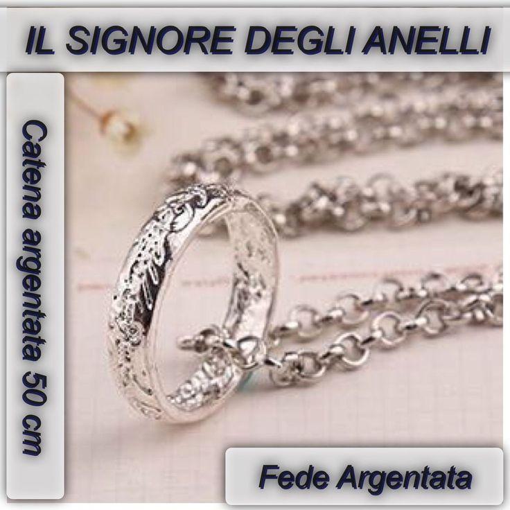 COLLANA ANELLO IL SIGNORE DEGLI ANELLI THE LORD OF THE RING LO HOBBIT ARGENTATA