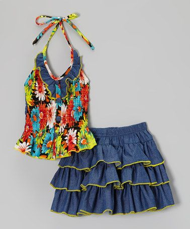 Denim & Yellow Floral Halter Top & Ruffle Skirt - Toddler & Girls by Lele for Kids #zulily #zulilyfinds   $17 - I love it!