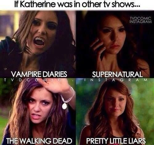 If Katherine Pierce Was on Another TV Show.... http://sulia.com/channel/vampire-diaries/f/9e6a7246-a88c-4f4f-b2fa-71b89ef3533a/?source=pin&action=share&btn=small&form_factor=desktop&sharer_id=54575851&is_sharer_author=true&pinner=54575851
