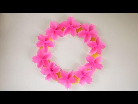【折り紙】桜のリース Sakura Wreath - YouTube