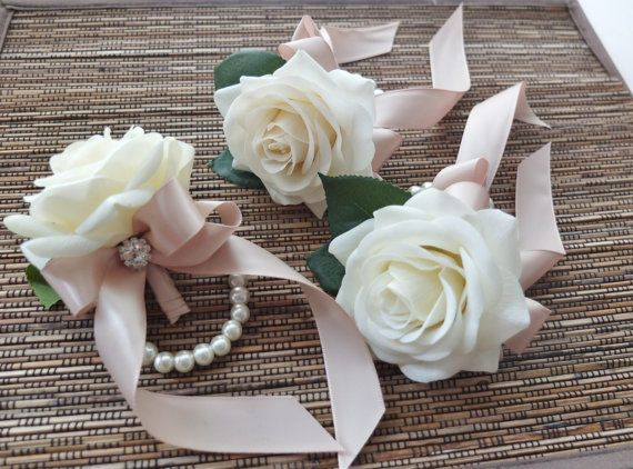 Wrist Corsage, White rose with champagne ribbon on pearl bracelet
