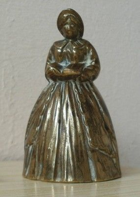 THICK BRASS BELL ORNAMENT : LADY IN DRESS READING BOOK (05/13/2012)