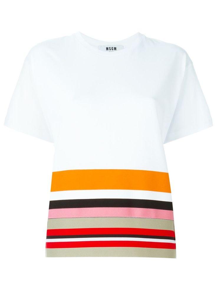 MSGM 스트라이프 헴 티셔츠