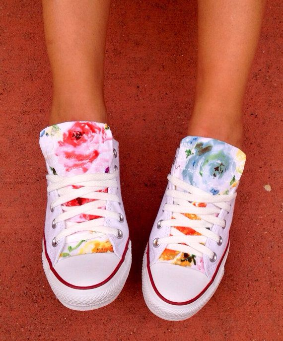 Custom Floral Converse Chuck Taylor Shoes by LoveChuckTaylors