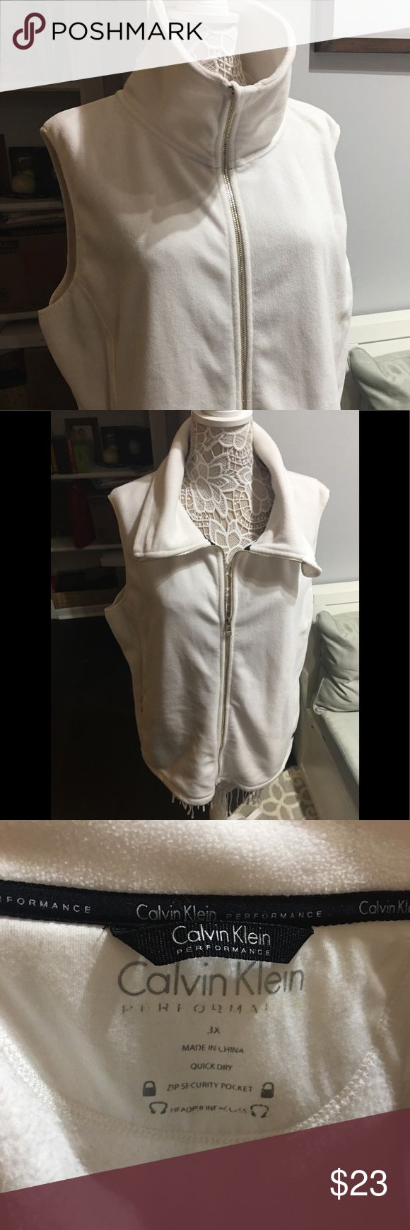 CALVIN KLEIN-  Fleece cream vest :Athleisure Excellent used condition- super soft & goes with everything! no flaws. Soft & warm with darting & branding detail. Size 3X Calvin Klein Jackets & Coats Vests