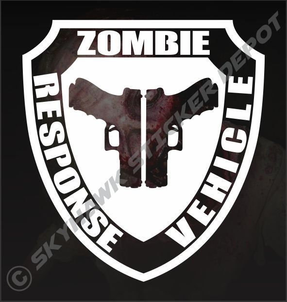 Zombie response vehicle badge vinyl sticker decal walking dead gun pistol jeep