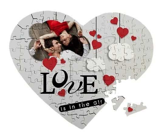 Puzzle cuore masonite A3 con grafica romantica