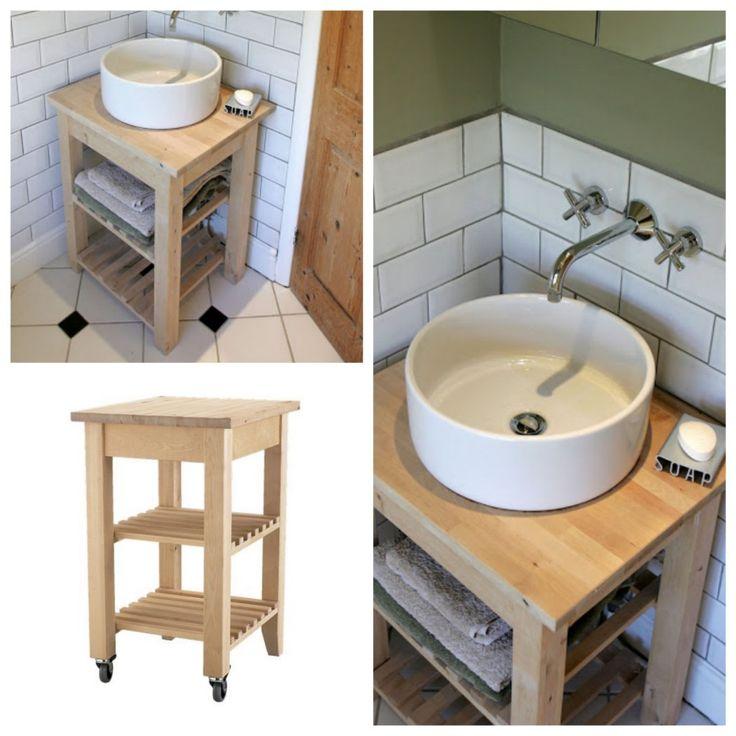 Un meuble de salle de bain en bouleau à partir de la desserte BEKVÄM vendue 49€. salle de bain IKEA Hacks www.clemaroundthecorner.com