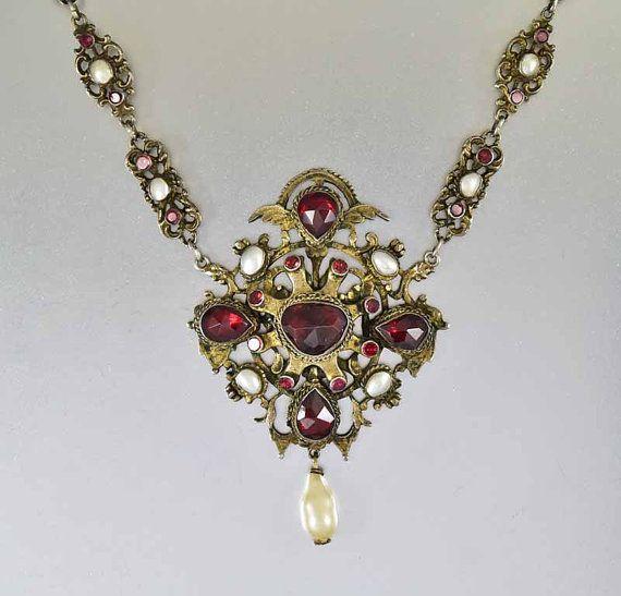 Collar de granate victoriana, Austro Húngaro collar, collar de perlas granate, collar victoriano, antiguos joyas, colgante granate bohemio