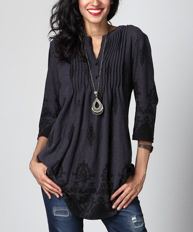 Look what I found on #zulily! Charcoal Damask Notch Neck Pin Tuck Tunic #zulilyfinds