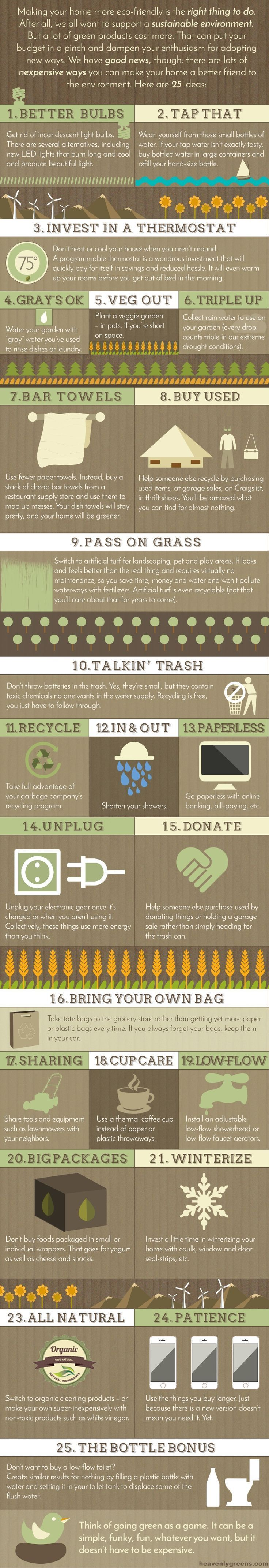 Eco-friendly ideas to save water and the planet at home. http://www.heavenlygreens.com/blog/infographic-making-your-home-more-eco-friendly