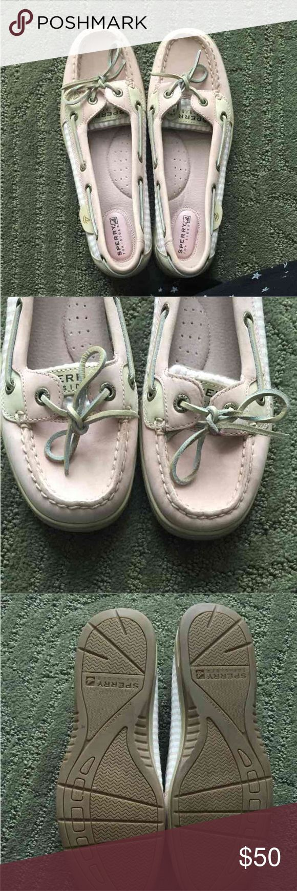 Sz 7.5 pink sperrys Women's size 7.5 light pink Sperry  I love these shoes! I bought a pair for myself and my sister and wear mine all the time, unfortunately I bought her the wording size.  Fits true to size  New without tags and doesn't come with box  MAKE OFFERS- BUNDLE AND SAVE Sperry Top-Sider Shoes Flats & Loafers