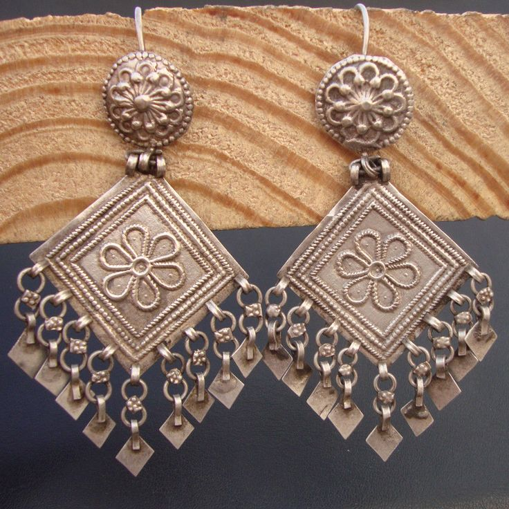 Vintage Old Silver Indian Tribal Gypsy Antique Women's Earring For New Year Gift #Handmade