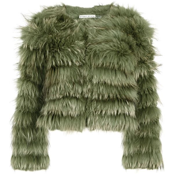 Alice + Olivia Fawn green cropped fur jacket found on Polyvore featuring outerwear, jackets, coats, green cropped jacket, alice olivia jacket, fur jacket, green fur jacket and green jacket