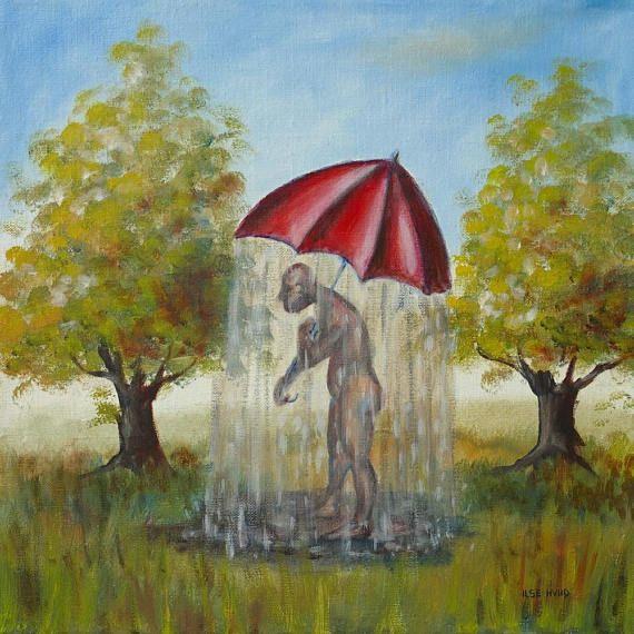 Raining umbrella original funny oil painting stretched