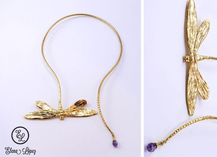 coleccin de liblula collar de chapa de oro con piedra natural diseo exclusivo mexicano