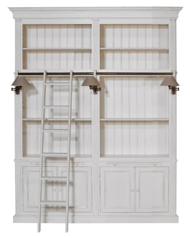 Flamant Library Balmore 2-Section Milano Antique White US Bookcase