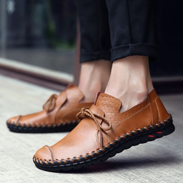 Men Casual Flats Leather Outdoor Lace Up Soft Round Toe Oxfrods