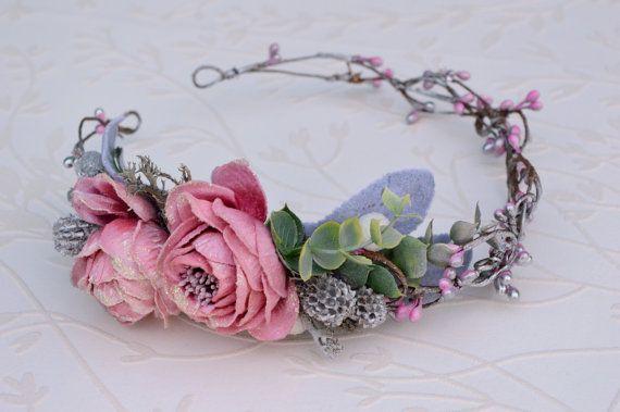 Pink bridal hair piece Pink wedding crown Fairy flower by LumilinA
