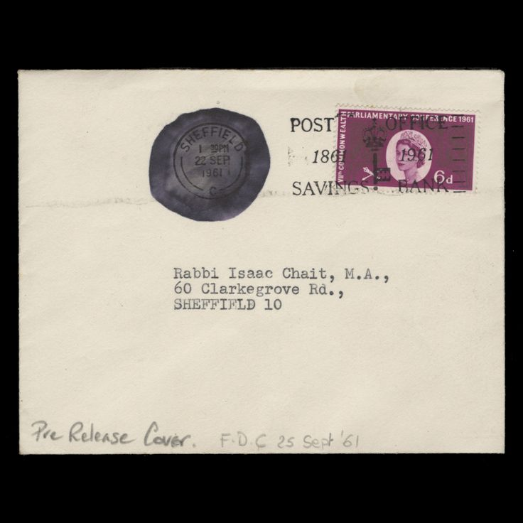 Great Britain 1961 (FDC) 6d Parliamentary Conference single on plain cover with 'Post Office Savings Bank' slogan and obliterated SHEFFIELD circular cancel dated 22 SEP 1961, three days before official release. Very unusual. Superb. SG629; SC385; BC81var