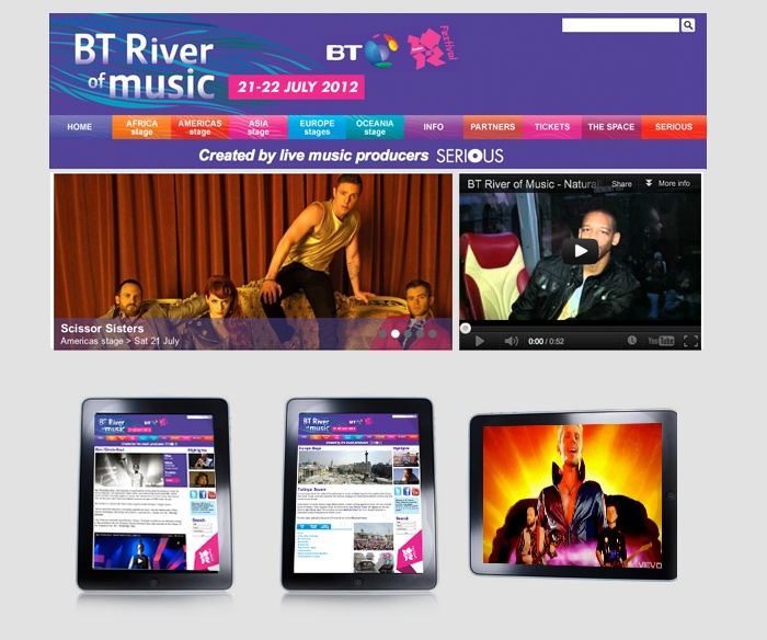 Web design and build for London Olympics 2012 BT River of music