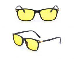 Flexibilné okuliare s čierno-zlatým rámom na prácu za počitačom aj na nočné šoférovanie ,