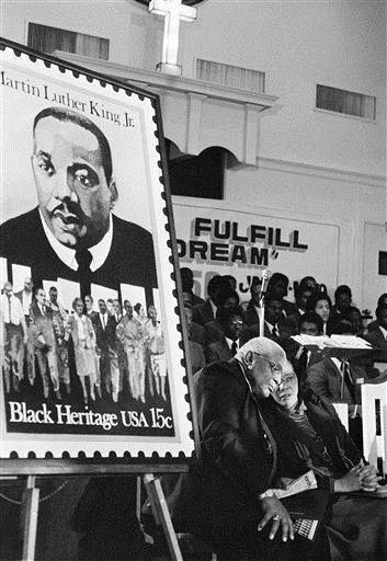 January 13, 1979 A commemorative stamp of Dr. Martin Luther King, Jr. is issued by the U.S. Postal Service as part of its Black Heritage USA commemorative series. The stamp of the slain civil rights leader is the second in the series.