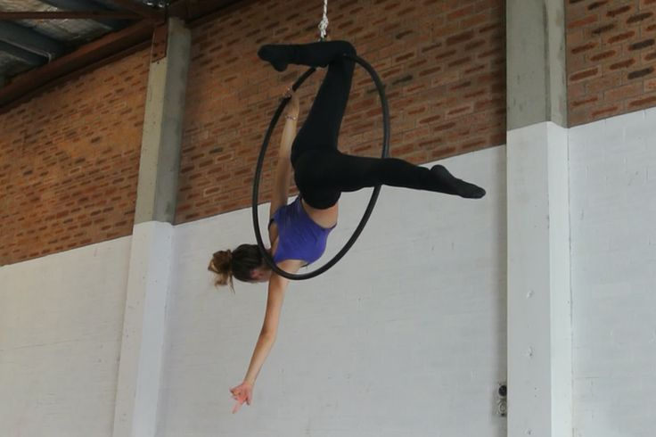 Louise rehearsing her aerial ring act