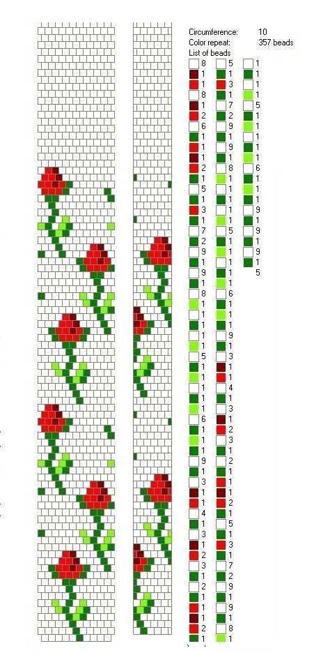 Схема плетения жгута & Driving braid beads_ Розочки