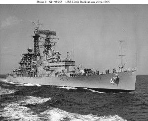 USS Little Rock (CLG 4) underway at sea, prior to taking over temporary duty as the flagship for Commander Second Fleet Vice Adm. K.S. Masterson on June 19, 1965. (U.S. Navy Photo Courtesy of Naval History and Heritage Command)