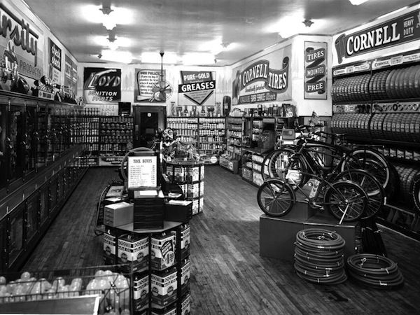 Oh awesome! Pep Boys Auto Supply store, 1940s  #cars #bikes #vintage