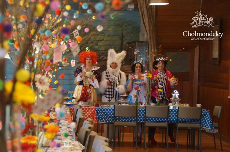 Fantastic costumes worn by the organisers of a Mad Hatter Tea Party, raising funds for Cholmondeley with Canterbury's Biggest Morning Tea.  Cholmondeley offers children short term planned and emergency respite care during times of stress and crisis. Support us and take part in CBMT 2016 this August by registering http://cbmt2016.eventbrite.co.nz