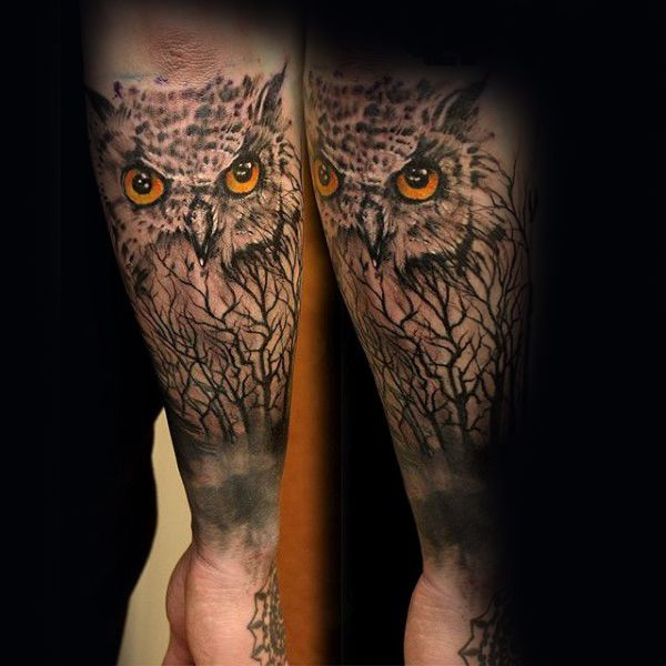 Mens Owl With Trees Forearm Tattoo Ideas
