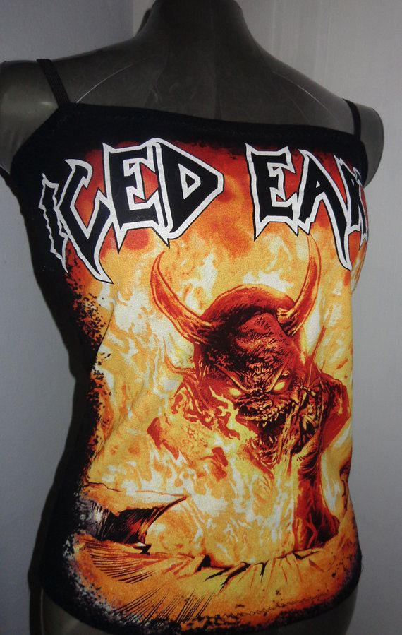 DIY ladies reconstructed ICED EARTH heavy metal band shirt into a sexy and flattering tank top size Medium. $30