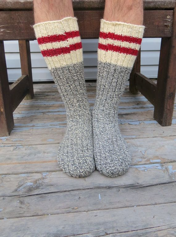 Knit Wool Socks Hand Knit Mens Grey White Twist with Red ...