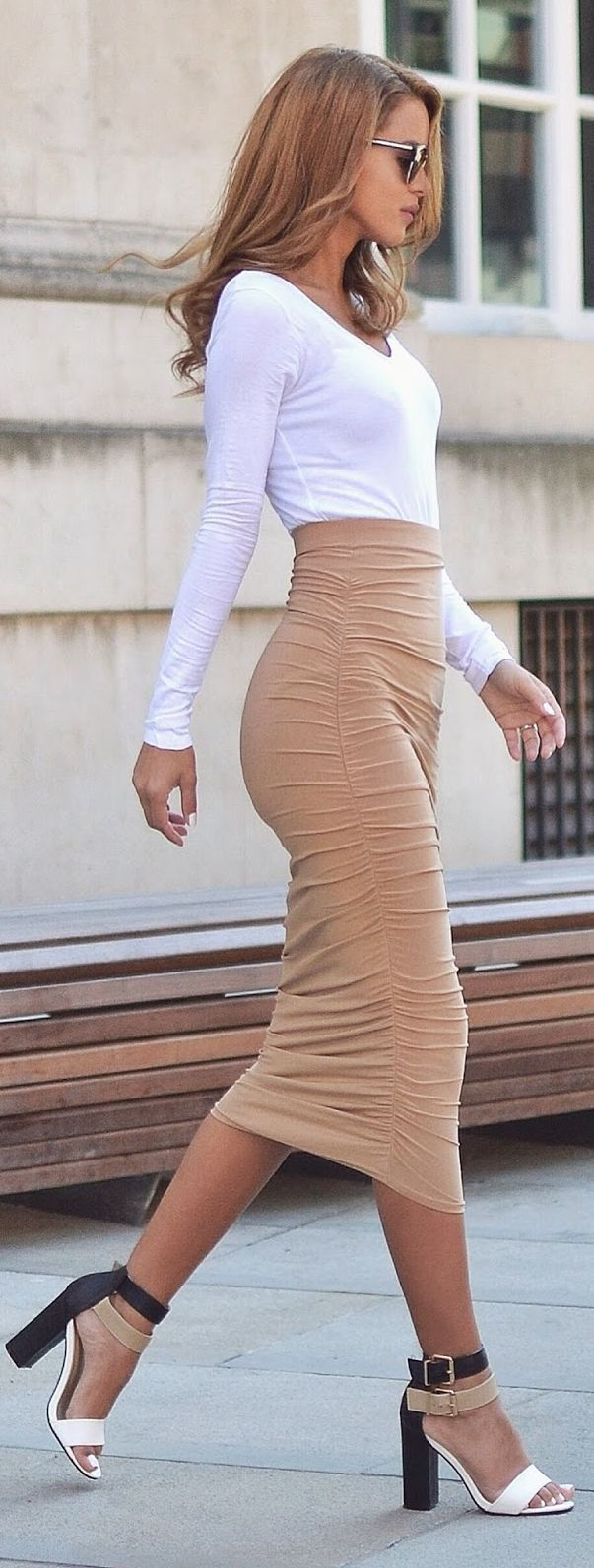 The infamous celebrity style skirt and crop top set. Ruched on each side of…