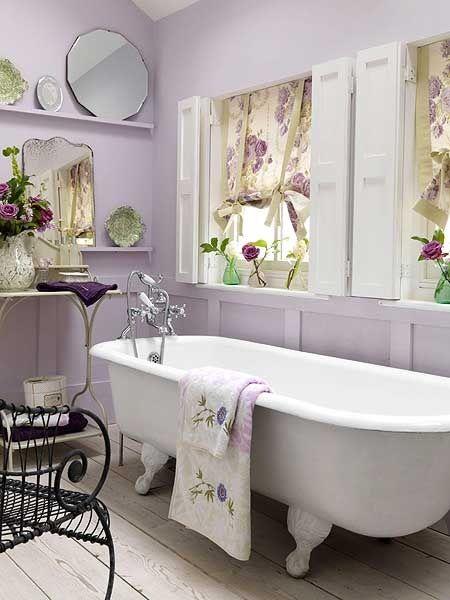 a pretty lavender bathroom - Click image to find more Architecture Pinterest pins