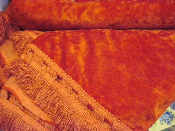 Vintage Concord Mills red dark orange color velvet bedding sheet, Made in USA, velvet bed cover with fringes, velvet bedspread flat sheet, by HTArtcraftAndVintage