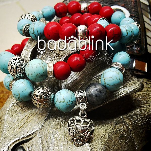 Gray, red and turquoise stones bracelets with ethnic metal heart charm   Material: natural stones and metal     Length: 18-22 cm/7-9 inches     Inquiries: facebook.com/badablink      Line: badablink      Email: hello@thebadablink.com