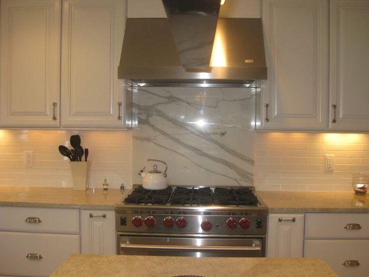Marble Slab Subway Tile Stove Backsplash Kitchen