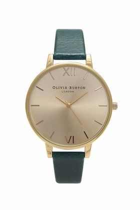 **Olivia Burton Big Dial Forest Green and Gold Watch