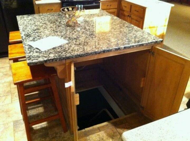 Hidden Room Beneath Kitchen Island So Cool Dream House