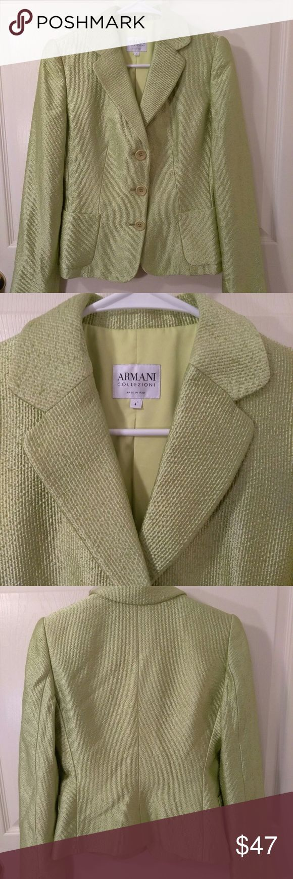 "LiMe green GIORGIO ARMANI Jacket LiMe green GIORGIO ARMANI Jacket size 38/4. GORGOUS lined jacket) Blazer Length 28"" Waist 24"" Sleeves 23"" Pit to pit 16"" Shoulders 14.5"" Smokefree petless home and ships next day . GIORGIO ARMANI Jackets & Coats"