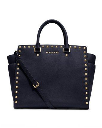 Michael Kors Selma Stud Large North South Tote Navy Leather Shoulder Bag