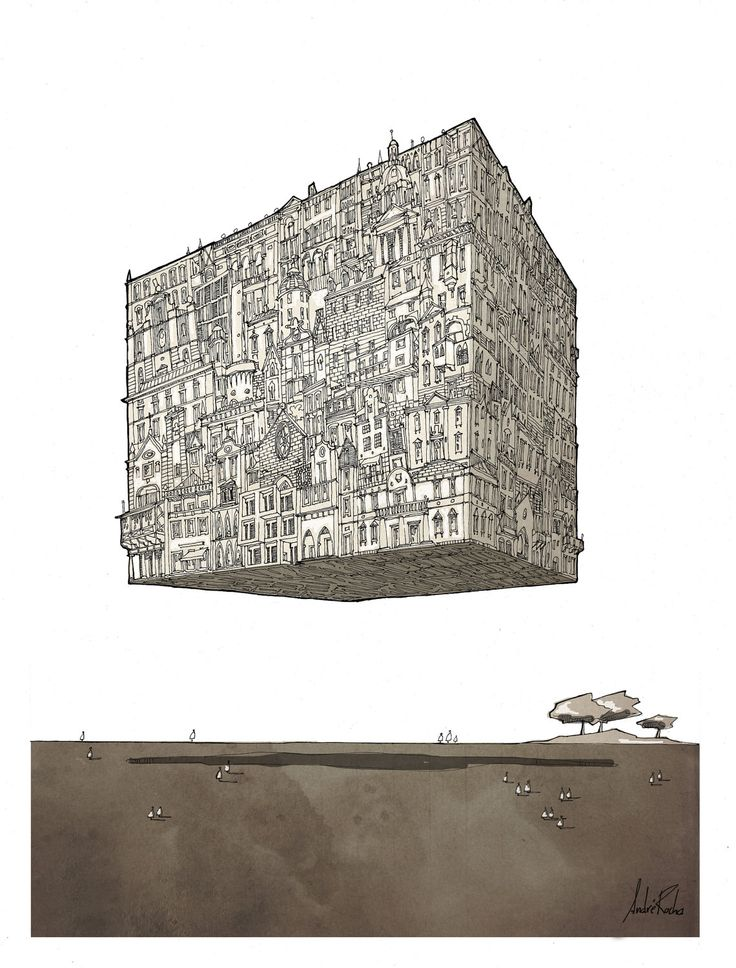 Cube-City,  Poster Surrealism, architectural Drawing Architecture sketch. €28.00, via Etsy.