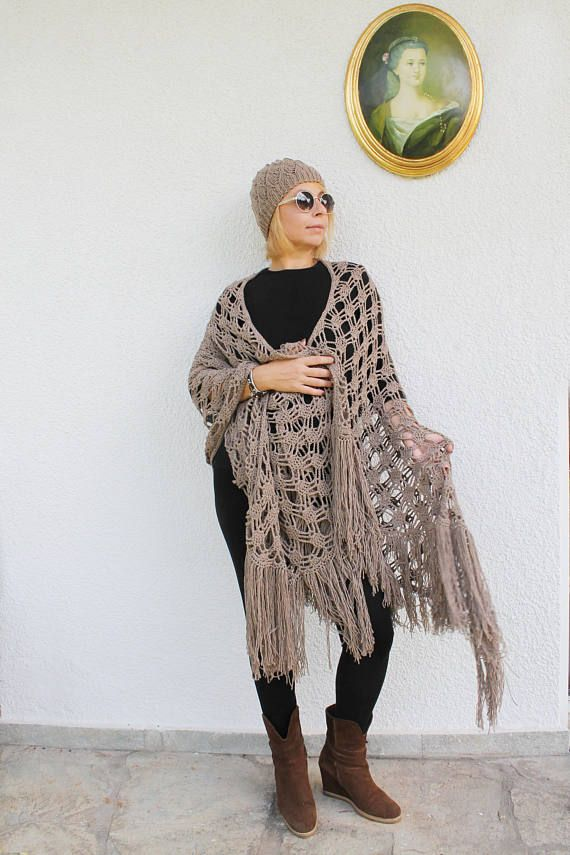 Crocheted Shawls Beige Shawl Beige Wrap Shawls and Wraps